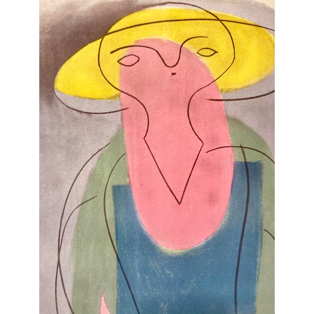 "Modern Modern Pablo Picasso ""Woman With Yellow Hat"" Rare Cubist Vintage Lithograph For Sale - Image 3 of 7"