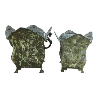 Rustic Green Stamped Metal Planters- a Pair For Sale