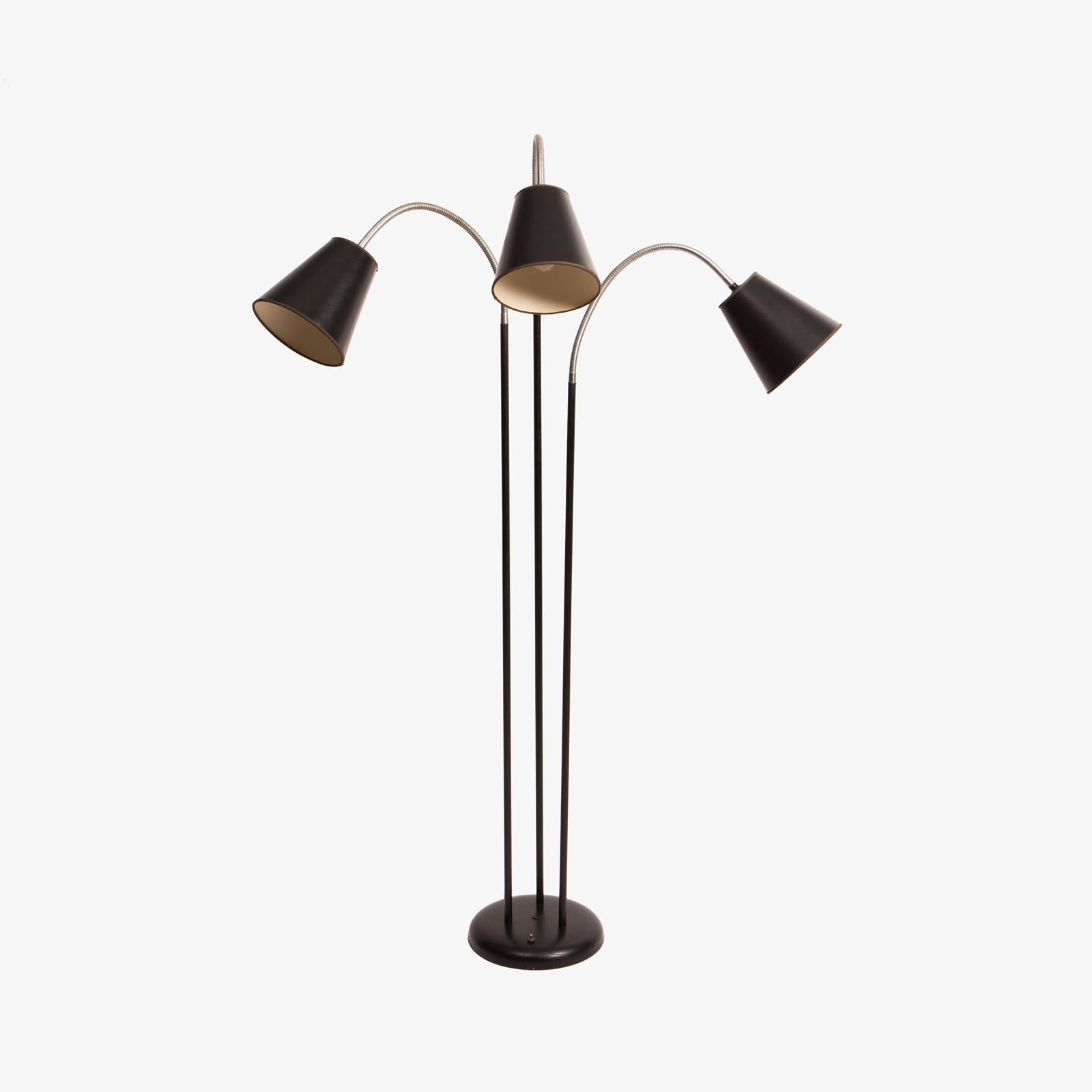 Three Arm Gooseneck Floor Lamp With Black Shades By David Wurster For  Raymor   Image 2