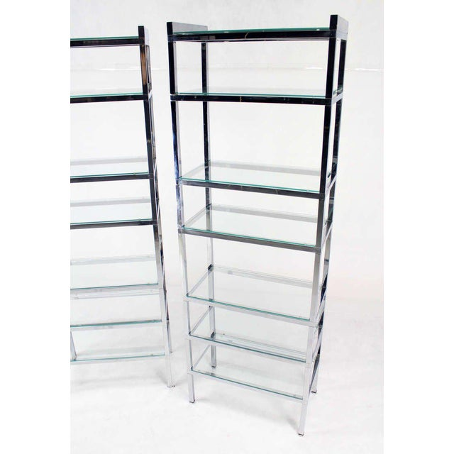 Charles Hollis Jones Pair of Tall and Narrow Chrome Etageres by Charles Jones For Sale - Image 4 of 8