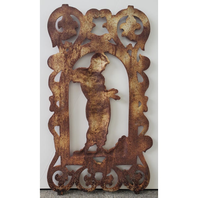 """Up for sale is a Late 19th Century English Victorian Cast Iron Woman Warming Hands Over Fire Plaque! It measures 25 3/4""""..."""