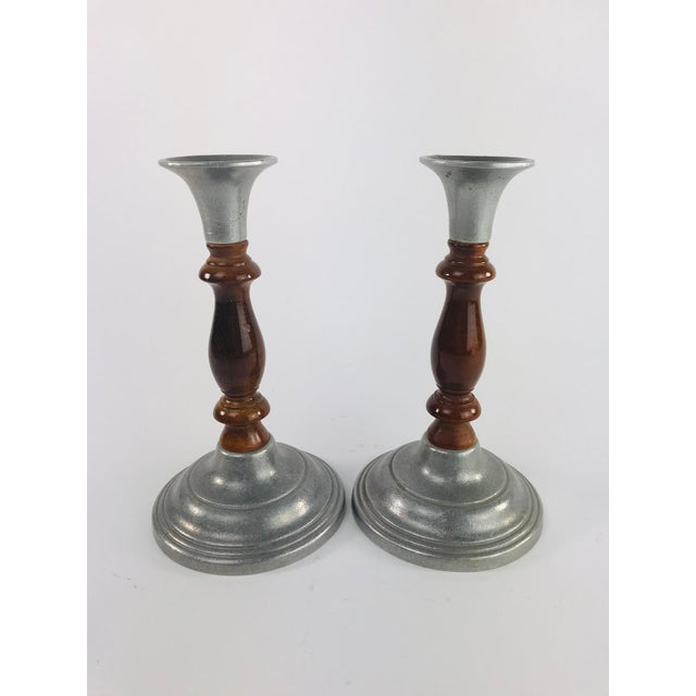 1970s Vintage Mid Century Wood and Pewter Candlesticks- A Pair For Sale - Image 5 of 9