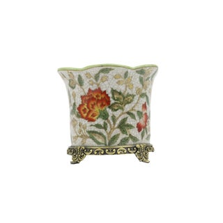 21st Century Chinoiserie Floral Porcelain Planter For Sale