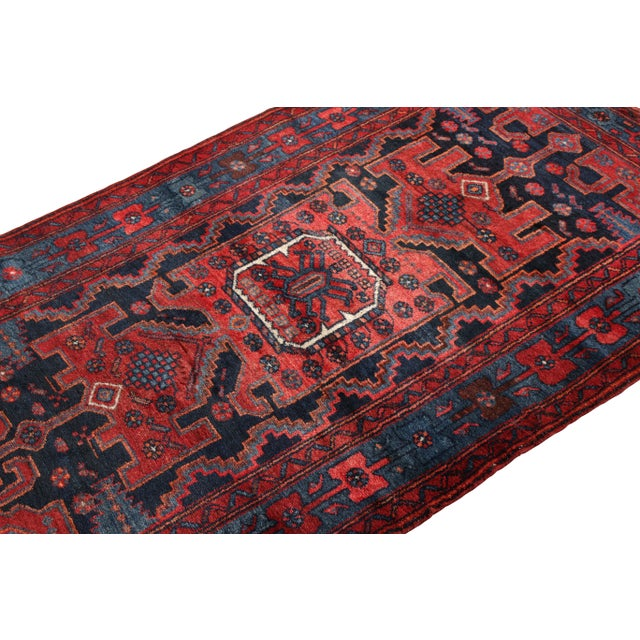 Traditional Hand-Knotted Antique Mosul Rug in Red Blue Tribal Medallion Pattern For Sale - Image 3 of 5