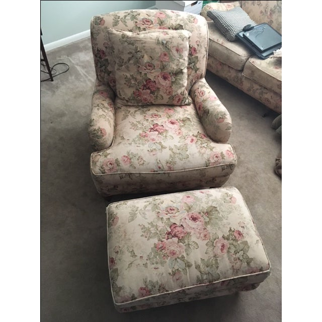 Cottage Lee Industries English Style Armchair & Ottoman For Sale - Image 3 of 11