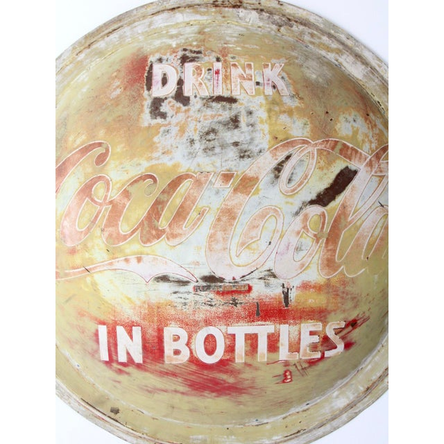 Vintage Coca-Cola Button Sign For Sale - Image 6 of 9