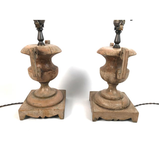 Metal French Neoclassical Carved Wood Vase Lamps - a Pair For Sale - Image 7 of 10