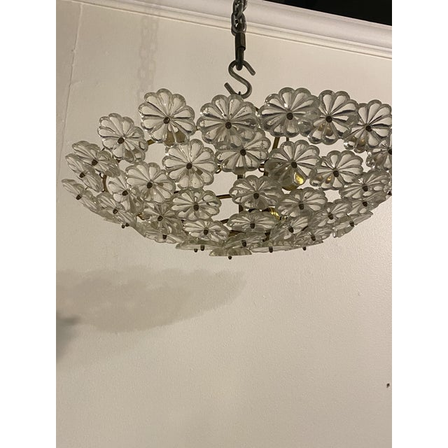 1930s French Glass Flower Light Fixture For Sale - Image 5 of 6