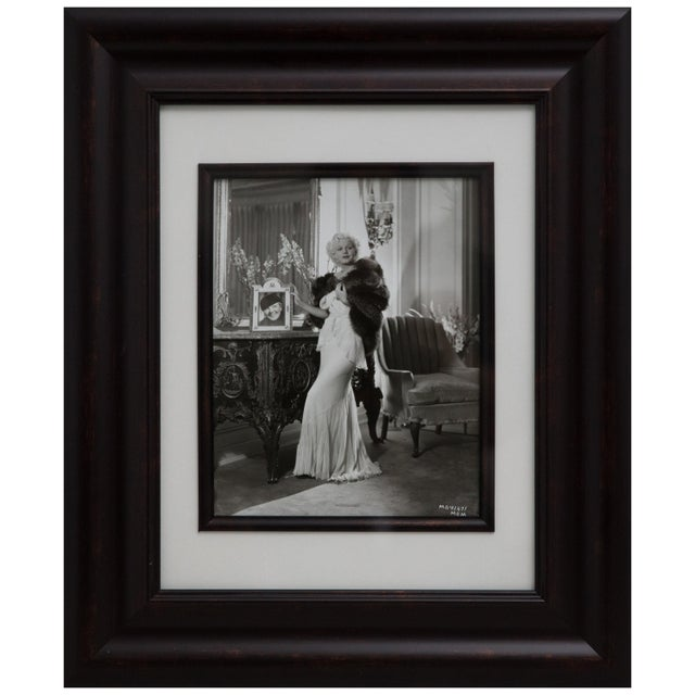 Offered is a striking, signed vintage silver print photograph in the Art Deco style of Hollywood actress Jean Harlow....
