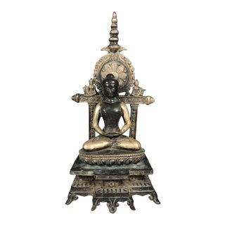 1970s Bronze Silver Gilt Tibetan Sitting Buddha For Sale