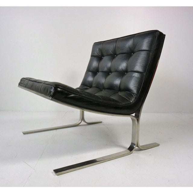 Nicos Zographos Black Leather Lounge Chair - Image 3 of 6