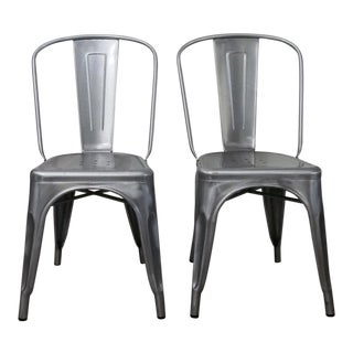 Tolix Style Industrial Marais Bistro Chairs - a Pair For Sale