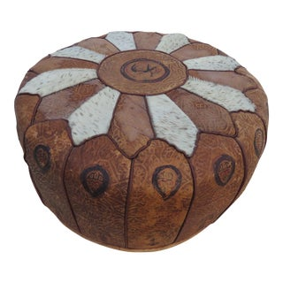 Mid Century Modern Round Leather Pouf Ottoman Footstool For Sale
