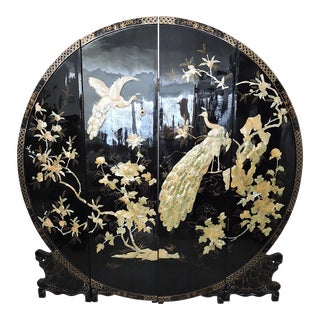 Mid-Century Chinese Four Panel Mother of Pearl and Black Lacquer Peacock Room Divider For Sale
