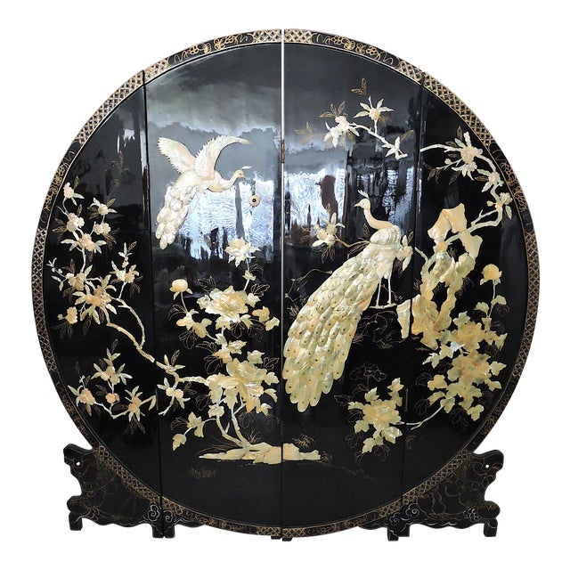 Round Mid-Century Chinese Four Panel Mother of Pearl and Black Lacquer Peacock Room Divider For Sale