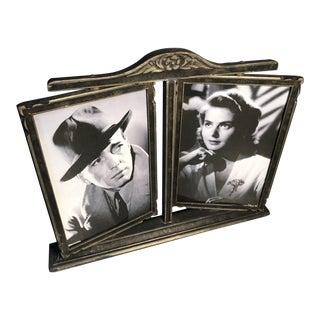 1940s Vintage Double Picture Frame Both Swivel on Stand For Sale