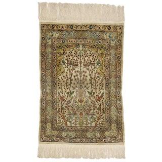 1970s Vintage Turkish Silk Hereke Prayer Rug - 2′9″ × 3′5″ For Sale