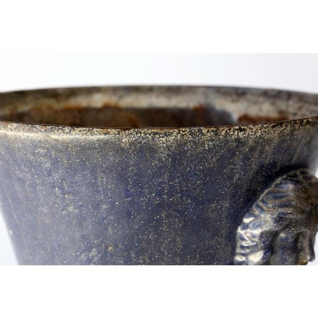 Cast Iron Large Blue Enameled Rouen Urn For Sale - Image 7 of 9