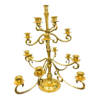 4 Tiered Vintage Brass Candelabra For Sale