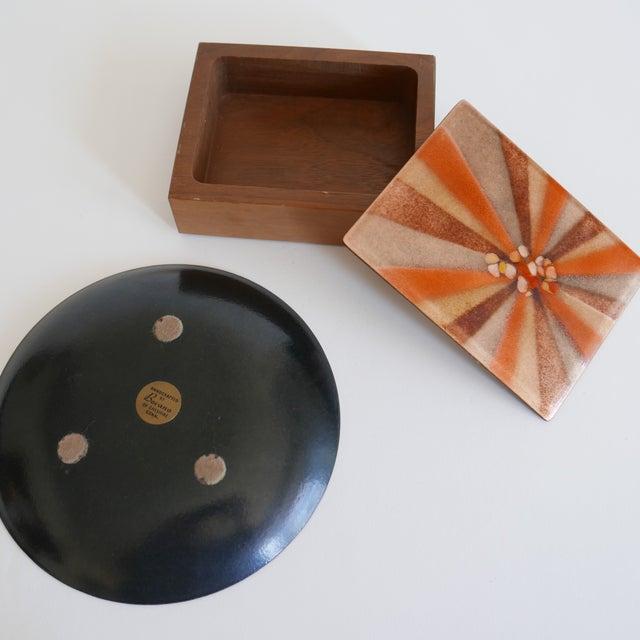Mid-Century Modern Design 'Bovano of Cheshire' Mid-Century Modern Enamel Over Copper Sunburst Design Tray and Box Set For Sale - Image 3 of 8