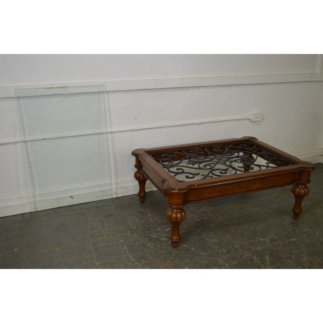 Ethan Allen French Country Style Glass & Scrolled Iron Top Coffee Table - Image 4 of 10