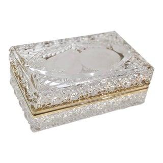 "Vintage ""Baccarat"" Crystal Trinket Box Brass Hinged Ormolu Jewelry Casket For Sale"