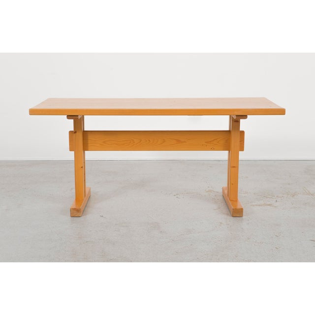 """dining table part of a dining table set designed by Charlotte Perriand for Les Arcs France, c 1968 pine 27 ¾"""" h x 61 ⅝"""" w..."""