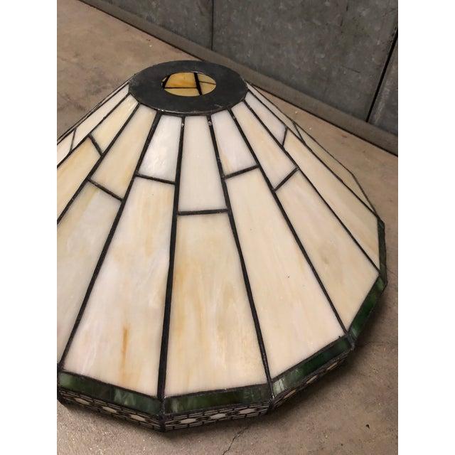 Brown Mission Slag Arts & Crafts Spectrum Glass Lamp Shade For Sale - Image 8 of 12