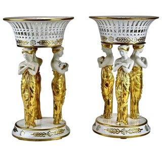 Pair of 19th Century Paris Porcelain Neoclassical Corbeille or Centrepieces