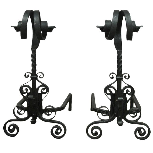 Arts & Crafts Ram's Head Andirons - Pair For Sale