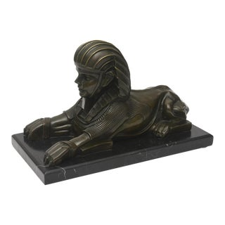 French Patinated Bronze Reduction of a Sphinx, Joaquim Corierra For Sale
