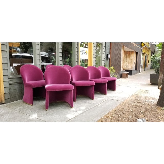 Mid-Century Purple Velvet Dining Chairs - Set of 8 - Image 4 of 8