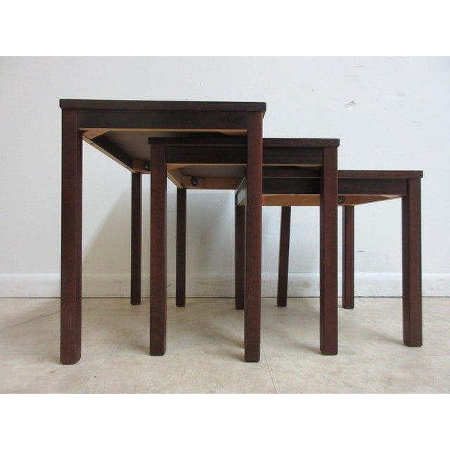 Vintage Danish Modern Rosewood Nesting Tables - Set of 3 For Sale - Image 4 of 9