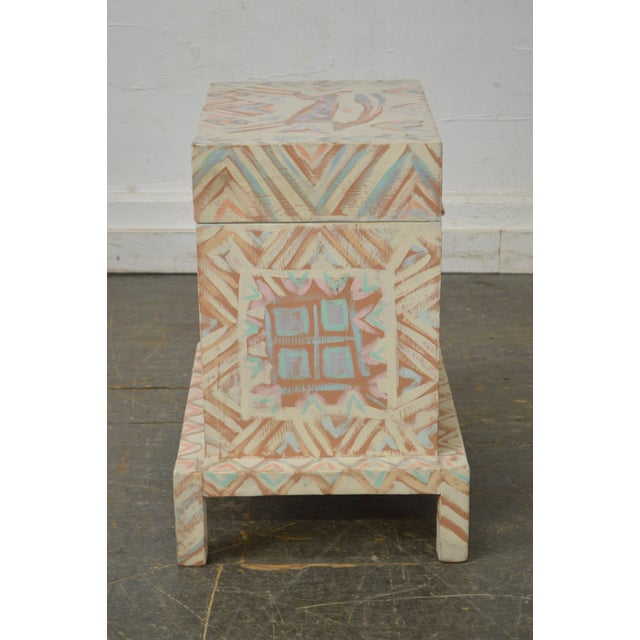 Traditional Hand Painted Folk Art Small Lift Top Chest For Sale - Image 3 of 11