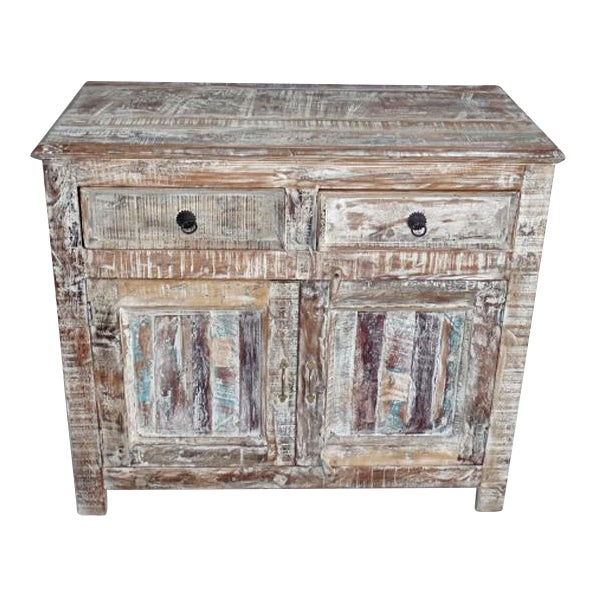 Reclaimed White Washed Wood Cabinet - Image 1 of 3