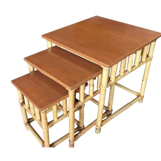 Set of 3 Rattan Nesting Side Tables W/ Mahogany Top For Sale