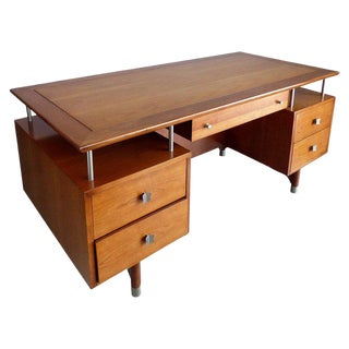 1950s Mid-Century Modern Solid Cherry and Chrome Tanker Desk For Sale