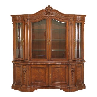 Vintage Karges French Inspired Walnut Breakfront China Cabinet For Sale