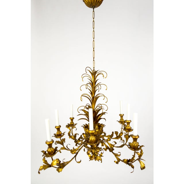 Gilt Palm Leaf Regency Chandeliers (2 Available) For Sale - Image 13 of 13