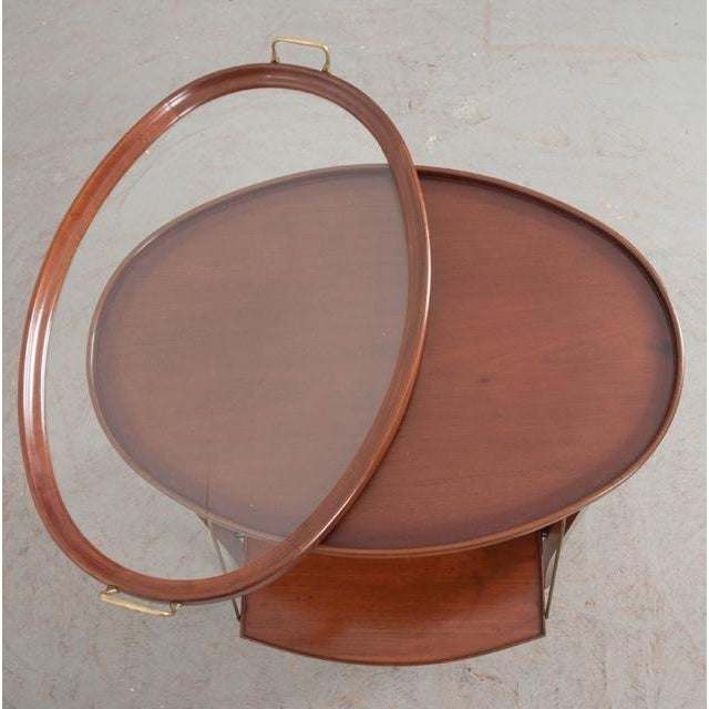 Brass French Early 20th Century Oval Mahogany Tea Table For Sale - Image 7 of 13
