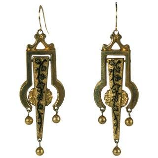 Victorian Articulated Enamel Drop Earrings For Sale