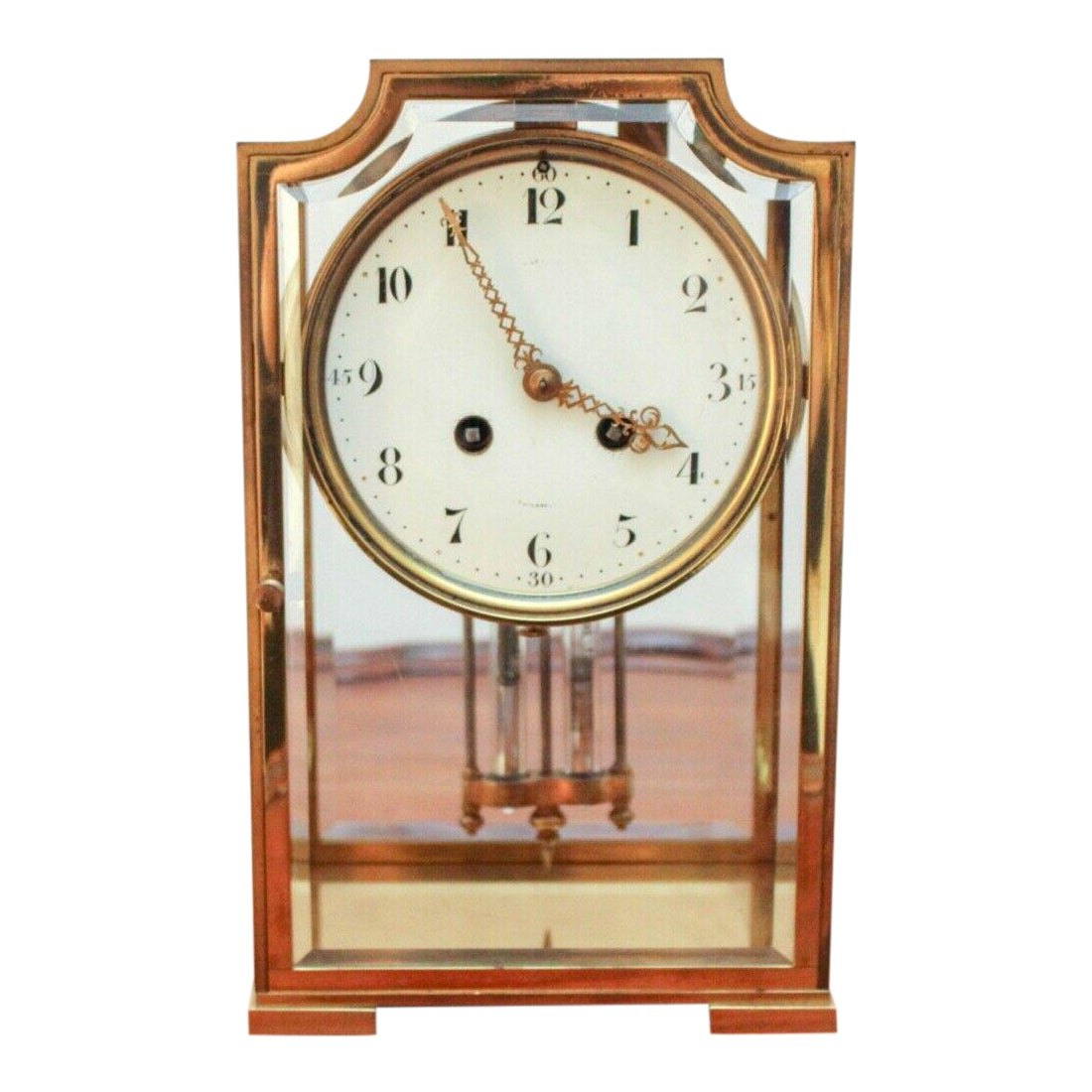 Bailey Banks Biddle French Made Four Glass Crystal Regulator Mantel Clock Chairish