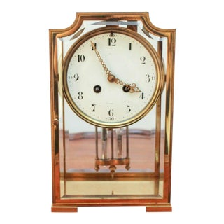 Bailey Banks & Biddle French-Made Four Glass Crystal Regulator Mantel Clock For Sale