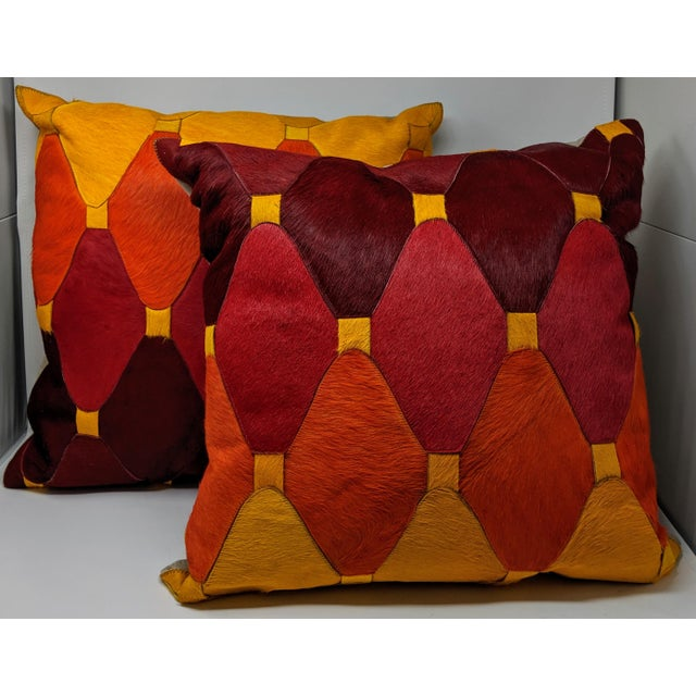 Boho Chic Cowhide Moroccan Pillow For Sale - Image 3 of 9