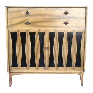 Mid Century Highboy Dresser With Black Vinyl Detailing on Doors For Sale