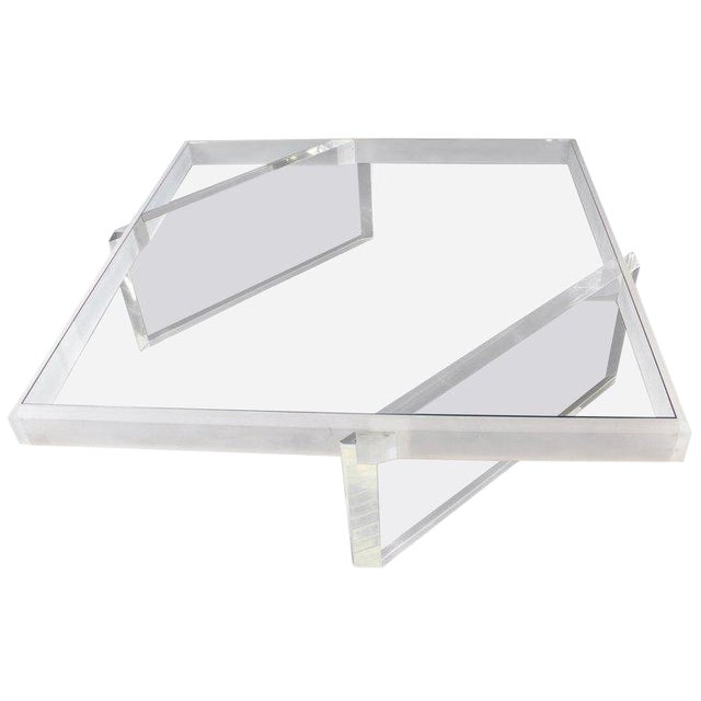 Mid-Century Modern Large Lucite Glass Coffee Table For Sale