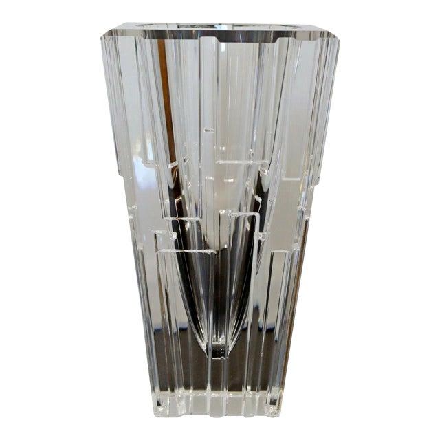1980s Contemporary Modern Sweden Orrefors Signed Glass Vase Table Sculpture For Sale