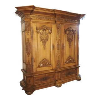 A Stunning Period Regence Armoire in Carved Oak, France, Circa 1720 For Sale
