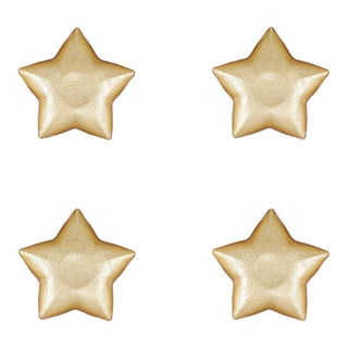 Kenneth Ludwig Chicago Festa Glass Gold Star Dish - Set of 4 For Sale