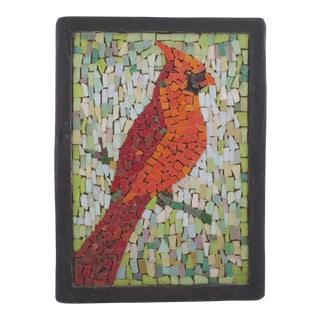 Vintage Glass Mosaic of a Cardinal